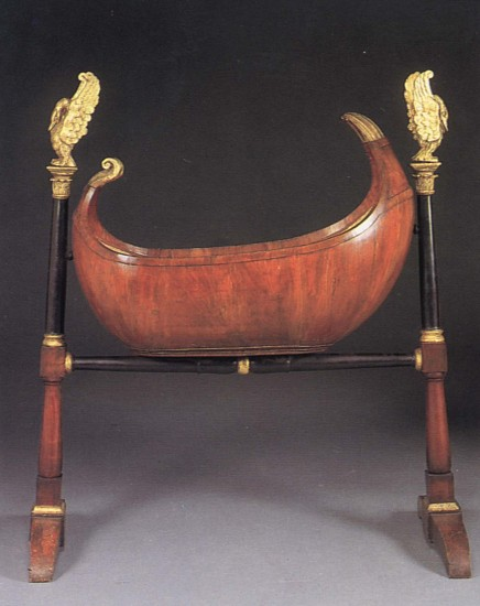 19th Century AUSTRIAN, Biedermeier Black Walnut, Ebonized and Parcel-Gilt Cradle 1800-1825, Mixed woods