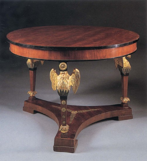 19th Century AUSTRIAN, Neoclassical Mahogany and Parcel Gilt Center Table 1800-1825, Mixed woods